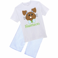 Chocolate Bunny Graphic Tee/Seersucker Short or Pant Set