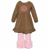 Monogrammed Coffee and Light Pink Stripe Ruffled Knit Pant Set PRE-ORDER