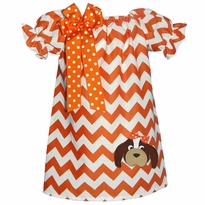 Hound Dog Orange And White Chevron Peasant Dress
