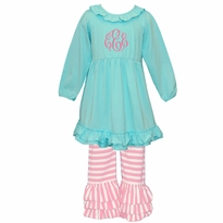 Monogrammed Aqua and Pink Stripe Ruffled Knit Pant Set PRE-ORDER
