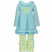 Monogrammed Aqua and Yellow Stripe Ruffled Knit Pant Set PRE-ORDER