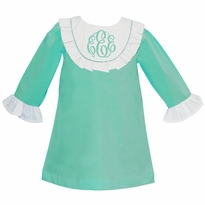 Monogrammed Aqua Ruffled Bib Dress ~ IN STOCK AND READY TO SHIP!