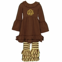 Monogrammed Brown and Yellow Stripe Ruffled Knit Pant Set PRE-ORDER