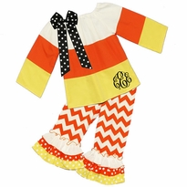 Monogrammed Candy Corn Ruffled Pant Set PRE-ORDER