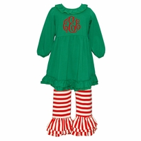 Monogrammed Christmas Ruffled Knit Pant Set PRE-ORDER