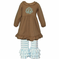 Monogrammed Coffee and Aqua Stripe Ruffled Knit Pant Set PRE-ORDER