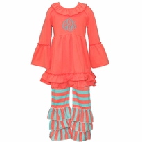 Monogrammed Coral and Aqua Ruffled Knit Pant Set PRE-ORDER