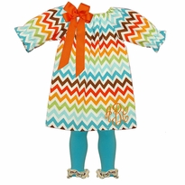 Monogrammed Fall Chevron Peasant Dress~Perfect For Thanksgiving