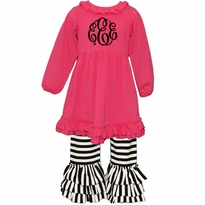 Monogrammed Hot Pink and Black Stripe Ruffled Knit Pant Set PRE-ORDER