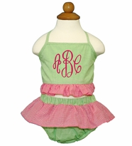 Monogrammed Hot Pink and Lime Ruffled 2 Piece Swim Suit
