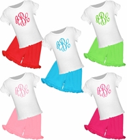 Monogrammed Lettuce Edge Tee/Ruffled Knit Short Set