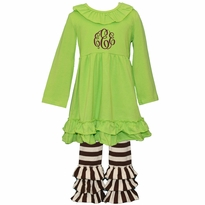 Monogrammed Lime and Brown Stripe Ruffled Knit Pant Set PRE-ORDER