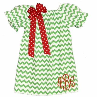 Monogrammed Lime Chevron Peasant Dress~Ships In Approx. 4 Weeks