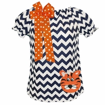 Monogrammed Navy Chevron Tiger Dress