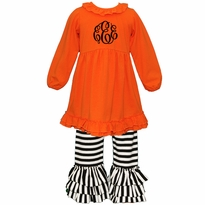 Monogrammed Orange and Black Stripe Ruffled Knit Pant Set PRE-ORDER