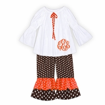 Monogrammed Orange and Brown Polka Dot Ruffled Pant Set PRE-ORDER