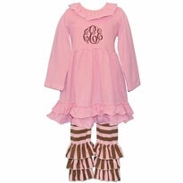 Monogrammed Pink and Brown Stripe Ruffled Knit Pant Set PRE-ORDER