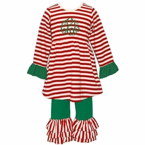 Monogrammed Red and Green Stripe Christmas Ruffled Knit Pant Set PRE-ORDER