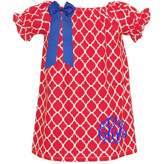 Monogrammed Red Quatrefoil Peasant Dress IN STOCK & READY TO SHIP
