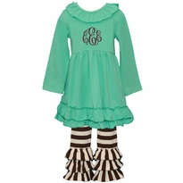 Monogrammed Teal and Brown Stripe Ruffled Knit Pant Set PRE-ORDER