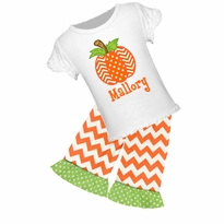 Personalized Pumpkin Graphic Tee/Ruffled Capri or Pant Set PRE-ORDER