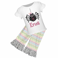 Personalized Cute Spider Graphic Tee/Ruffled Short, Capri, or Pant Set