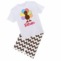 Personalized Turkey Graphic Tee/Brown Chevron Pant Set PRE-ORDER