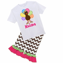 Personalized Turkey With Heels Graphic Tee/Ruffled Pant Set PRE-ORDER