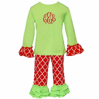 PRE-ORDER Lime and Red Quatrefoil Ruffled Knit Pant Set PRE-ORDER