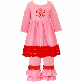 PRE-ORDER Monogrammed Pink and Red Ruffled Knit Pant Set PRE-ORDER