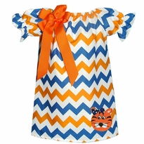 Tiger Orange/White And Blue Chevron Peasant Dress