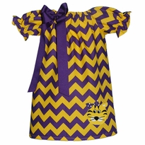 Yellow Tiger Purple And Gold Chevron Peasant Dress