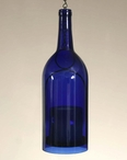 1.5 L Cobalt Blue Wine Bottle Hanging Pillar Candle Holders, Set of 2