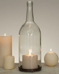 1.5 Liter Clear Glass Wine Bottle Pillar Candle Holders, Set of 2