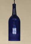 1.5 Liter Cobalt Blue Wine Bottle Open Bottom Pendant Lamp Light