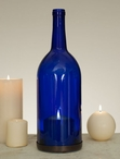 1.5 Liter Cobalt Blue Wine Bottle Pillar Candle Holders, Set of 2