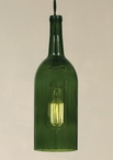 1.5 Liter Emerald Green Wine Bottle Open Bottom Pendant Lamp Light