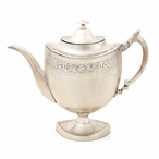"10.5"" Antique Silver Decorative English Teapot"