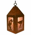 "10"" Bass Fish Metal Lantern Hanging Pendant Light"