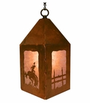 "10"" Bucking Bronco Rider Metal Lantern Hanging Pendant Light"