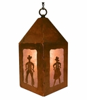 "10"" Cowboy and Cowgirl Metal Lantern Hanging Pendant Light"