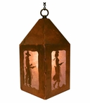 "10"" Cowboy & Cowgirl with Pistols Metal Lantern Hanging Pendant Light"