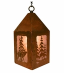 "10"" Elk and Pine Trees Metal Lantern Hanging Pendant Light"