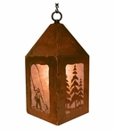"10"" Fly Fisherman and Pine Trees Metal Lantern Hanging Pendant Light"