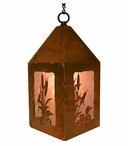 "10"" Loon Swimming in the Cattails Metal Lantern Hanging Pendant Light"