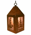 "10"" Moose and Pine Trees Metal Lantern Hanging Pendant Light"