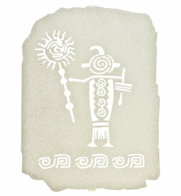 "10"" Petroglyph Shaman Ancient Tablet Metal Wall Art"