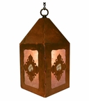 "10"" Picture Jasper Stone Metal Lantern Hanging Pendant Light"