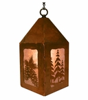 "10"" Pine Cones and Pine Trees Metal Lantern Hanging Pendant Light"