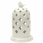 """10"""" Porcelain Dome Pillar Candle Holder with Bird on Top, Set of 2"""